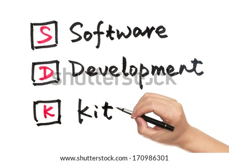 SDK - software development kit words written on white paper