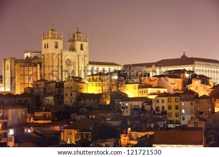 Se, Cathedral of Porto at night, Portugal