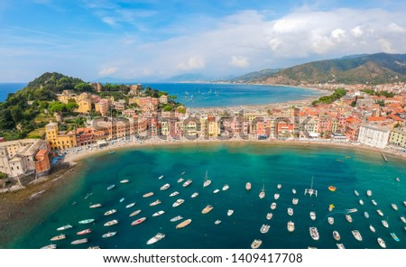 Sea aerial landscape in Sestri Levante, Liguria, Italy. Scenic fishing village with traditional houses and clear blue water. Summer vacation rich resort with picturesque harbour and nice sand beach Stock photo ©