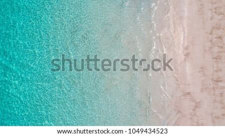 Sea Aerial view, Top view,amazing nature background.The color of the water and beautifully bright.Azure beach with rocky mountains and clear water of Thailand ocean at sunny day.flying drone,sea view #1049434523