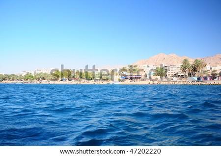 sea and beach in Aqaba in Jordan