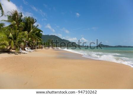 sea and beach with coconut palm on Lamai Beach in Koh Samui, Thailand