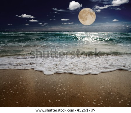 sea and moon. focus on wave