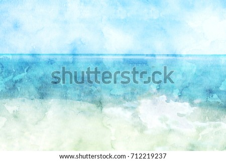 Stock Photo Sea and sand beach in summer watercolor painting, digital illustration painting