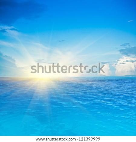 Sea and sky. Tropical quad composition #121399999