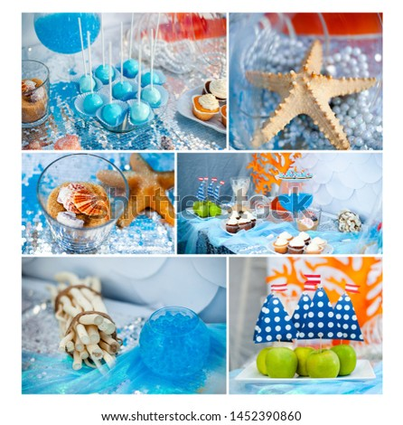 Sea and summer time theme for party or birthday. Collage of five pictures of sweets, cupcakes, pop cakes.