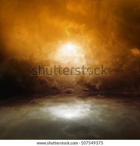 Sea background - dark red moody sky with reflection in water