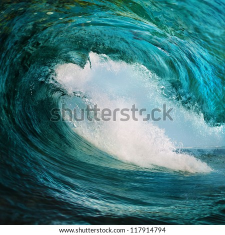 sea background design template rough surfing ocean wave falling down big drop