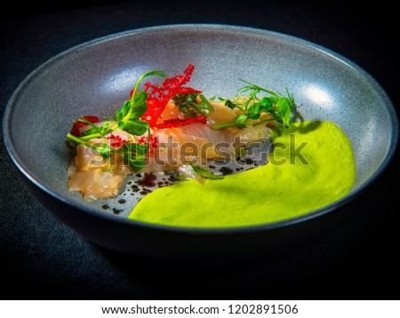 Sea Bass Ceviche With Green Pea Puree