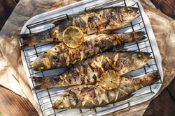 Sea Bass fish cooked on coals in a grill