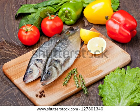 Sea Bass with vegetables and  lemon