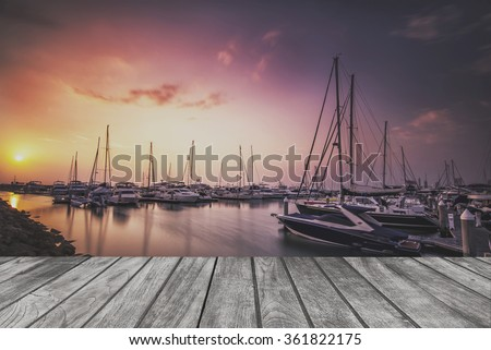 Sea bay with yachts on wooden floor.For product display #361822175