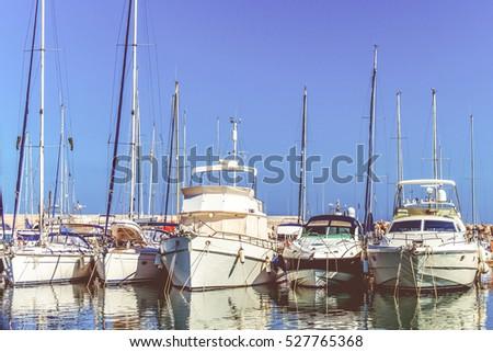 Sea bay with yachts.  yachts at sea port. #527765368