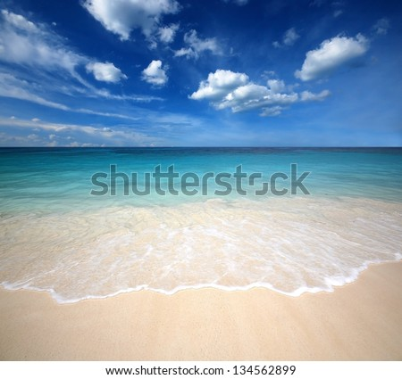sea beach blue sky sand sun daylight relaxation landscape viewpoint for design postcard and calendar in thailand #134562899