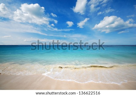 sea beach blue sky sand sun daylight relaxation landscape viewpoint for design postcard and calendar in thailand