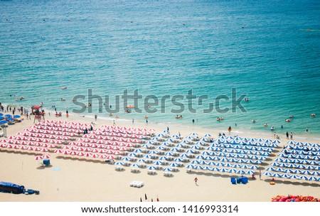 sea beach blue sky sand sun daylight relaxation landscape viewpoint in Haeundae beach in summer at Busan in Korea #1416993314