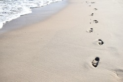 sea ​​beach footprints shore water