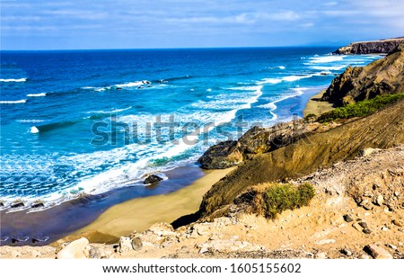 Photo of  Sea beach waves coastal line. Coastal sea waves panorama. Sea beach waves view