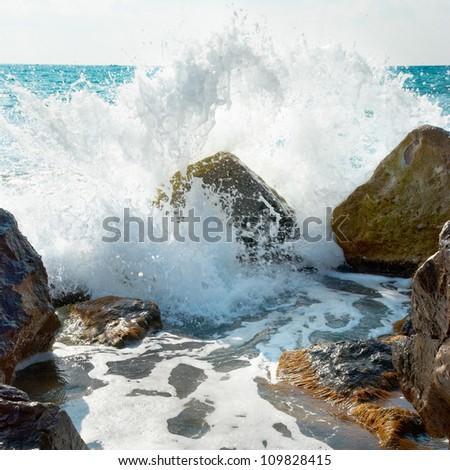 Sea, big wave and splash over the stones