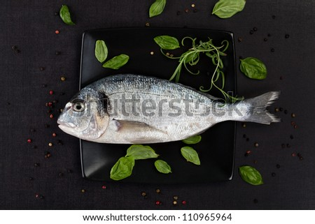 Sea bream on black square plate with colorful peppercorns, fresh basil and rosemary leaves in black background, top view. Culinary luxurious seafood concept.