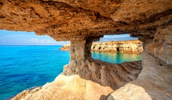 Sea cave near Cape Greko(Capo Greco) of Ayia Napa and Protaras on Cyprus island, Mediterranean Sea.