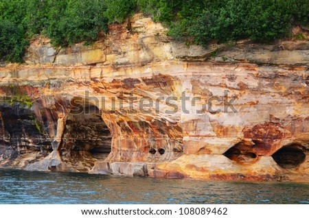 Sea Caves at Pictured Rocks National Lakeshore in the Upper Peninsula of Michigan