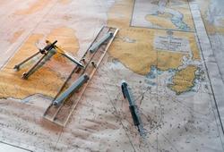 Sea chart in Navigation bridge of a ship through Magallanes and Chilean Antarctica Region in Chile of South America, America