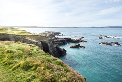 sea cliff and beach, sunny day / cornwall, godrevy