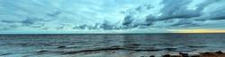 Sea coast before the storm. Panoramic view. Summer autumn panorama landscape Baltic sea. Latvia