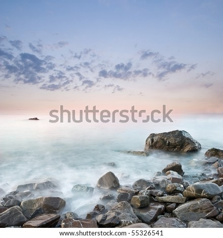 sea coast by an early morning