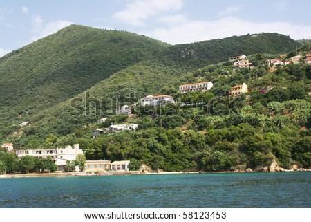 Sea coast of Corfu island. Photo made from coast line boat.