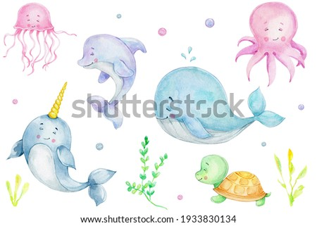 Sea collection with cute whale, dolphin, narwhal, octopus, jellyfish, turtle; watercolor hand drawn illustration; can be used for kid poster; with white isolated background