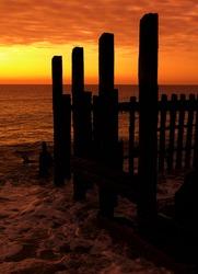 sea defences at sunrise