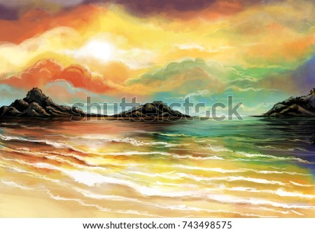 Sea Digital art hand painting-Illustration