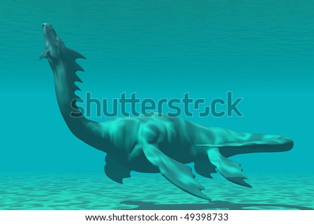 SEA DRAGON - A mythical sea dragon creature is reminiscent of the dinosaur called Plesiosaurus.