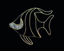 Sea fish made of golden  gimp on a black background