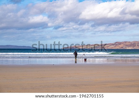 Sea fishing on Narin beach by Portnoo - Donegal, Ireland. Stok fotoğraf ©