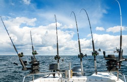 Sea fishing scenery with trolling rods