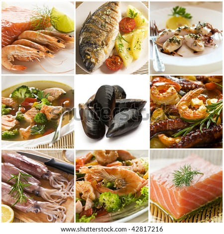 Sea food collage made from nine photographs - stock photo