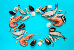 Sea food composition, flat lay of fishes, shrimps, shells and mussels, view from above, space for a text