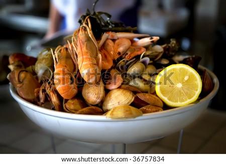 sea food plate in restaurant