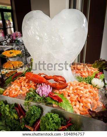 Sea food tray with Ice Heart