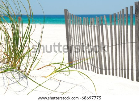 Sea grass and fence on Pensacola Beach