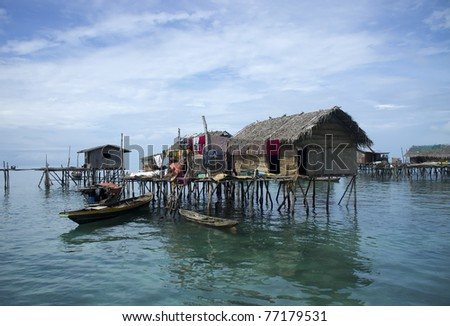 Sea gypsies houses on stilts in Semporna, Sabah, Borneo, Malaysia.