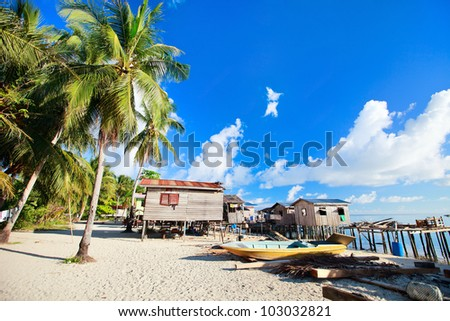 Sea gypsy village at Kalapuan island near Borneo in Malaysia