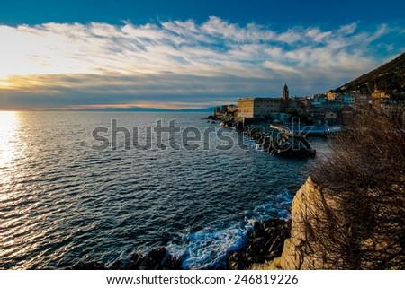 Sea horizon, panoramic scene with horizon line and clouds on evening sky.