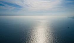 Sea horizon with a bird's eye view
