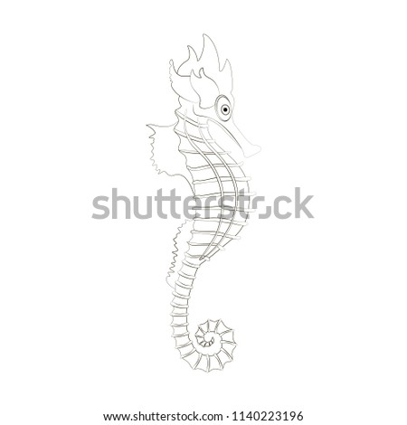 Sea Horse Coloring Pages On The White Background Illustration Ez