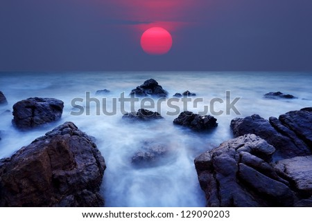 Sea in sunset