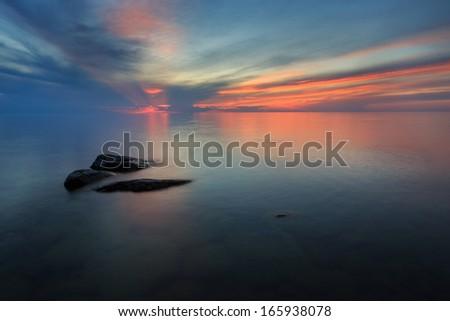 Sea in the Finnish summer night